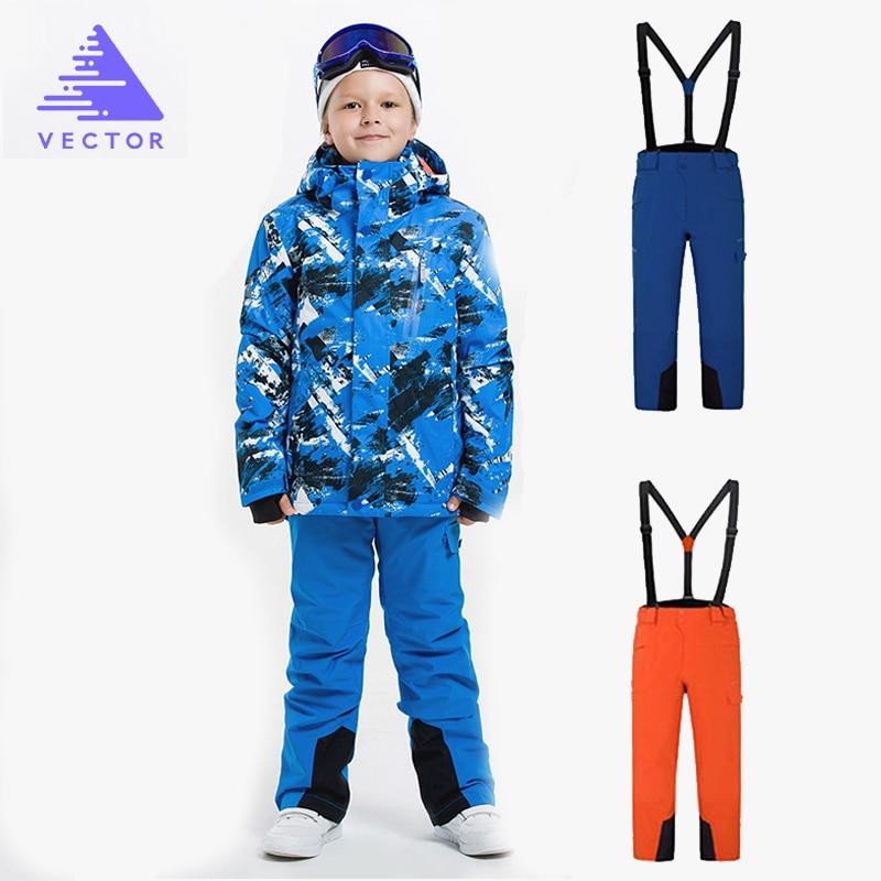 VECTOR Boys Ski Suits Warm Waterproof Children Skiing Snowboarding Jackets + Pants Winter Kids Child Ski Clothing Set vector warm winter ski jacket girls windproof waterproof children skiing snowboard jackets outdoor child snow coats kids