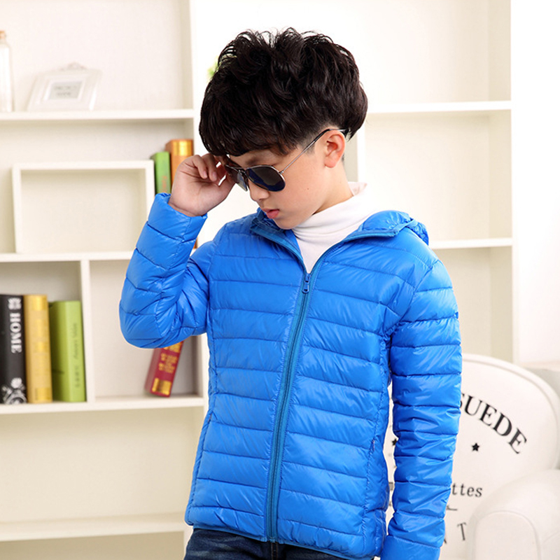 Down Jackets for Boys 2017 Autumn Winter Boys Jacket Coat Big Teenage 14 Thick Warm Solid Zipper Hooded Outerwear Boys Clothing casual 2016 winter jacket for boys warm jackets coats outerwears thick hooded down cotton jackets for children boy winter parkas