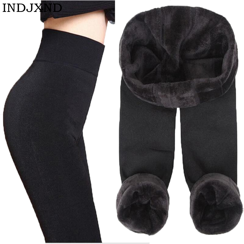 INDJXND Autumn Winter Fashion Explosion Model Plus Thick Velvet Warm Seamlessly Integrated Inverted Cashmere   Leggings   Warm Pants