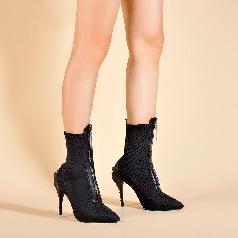Tissu De Black Talons D'hiver Bottes Mode Cheville Chaussette Chaussures Bout Stretch Étrange Femmes Paumes Pointu Pour Roses 8wvq4nA