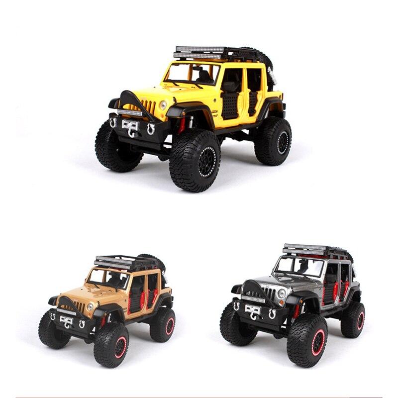1/24 Échelle Maisto Jeep Wrangler Moulé Sous Pression SUV Hors Route Modèles De Voitures Jouets pour Enfants Cadeaux Collections Jaune Abricot Gris