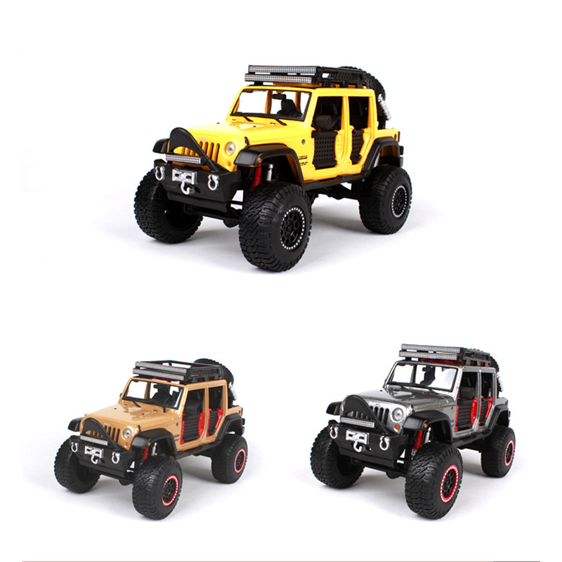1/24 Scale Maisto Jeep Wrangler Diecast SUV Off Road Car Models Toys for Children Gifts Collections Yellow Apricot Grey maisto diecast car 1 18 scale jeep wrangler willys model car off road vehicle with openable doors toy for children gift page 5