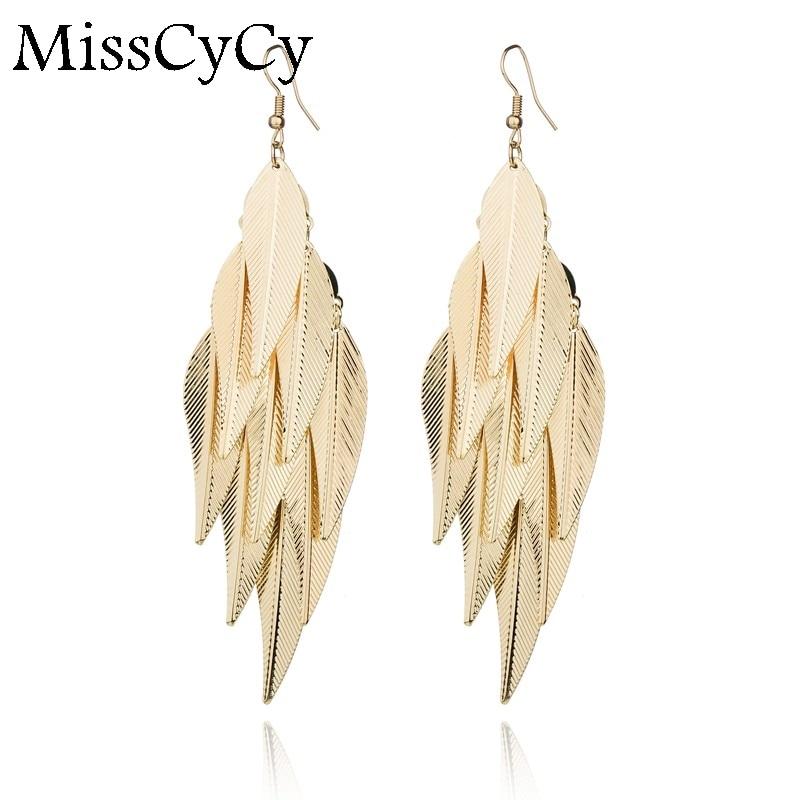 MissCyCy Bohemia Metal Leaves Tassel Long Earring For Girls Fashion Gold Color Drop Earrings Women Gift