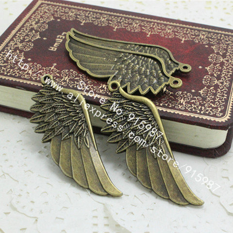 Sweet Bell 15pcs/lot Vintage Metal Alloy Wings Jewelry Charms Pendant Findings 22*57mm Fit Jewellery Making Pendants D0184