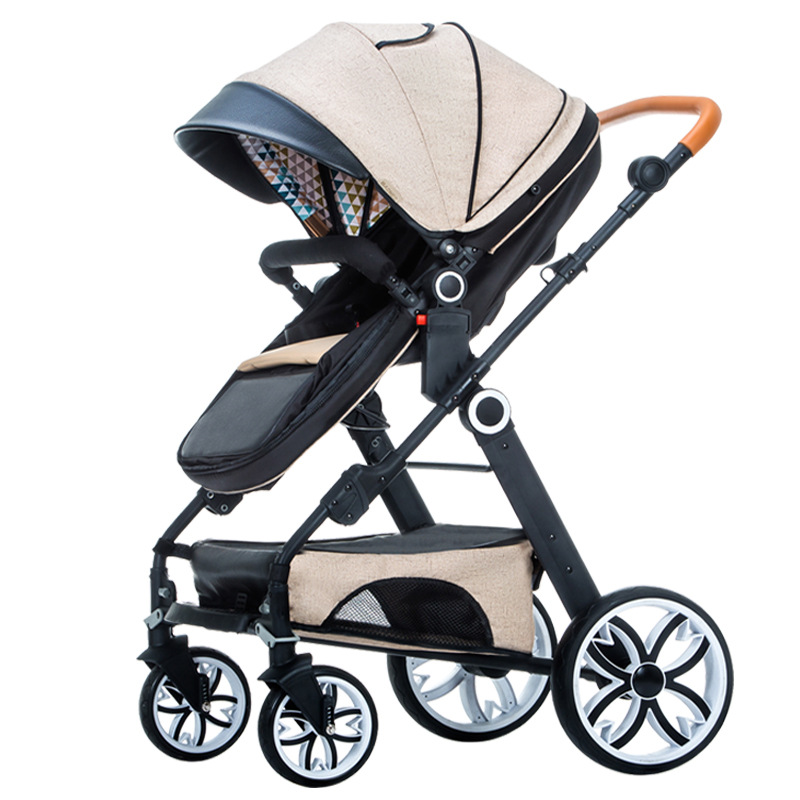 High view baby stroller 2 in 1 stroller folding two-way baby strollers four wheel umbrella stroller for new born baby russian wholesale new luxury baby stroller 3 in 1 high landscape three dimensional four round baby stroller carts strollers