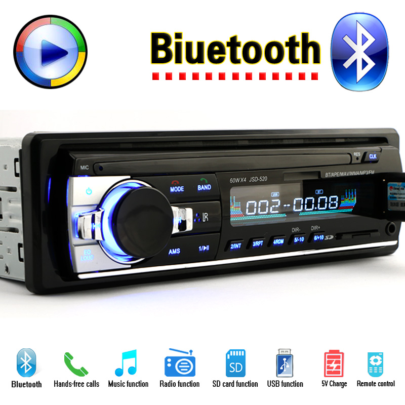 Jugador de Radio del coche FM Estéreo Bluetooth de Audio MP3 Cargador USB SD oto