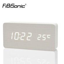 Fibisonic Деревянный цифровой светодиодный Будильник Reloj Despertador звук Управление Температура электронный стол настольные часы настольные