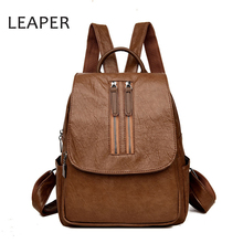 LEAPER New Backpack Women Travel Female Rucksack Leisure Student School bags Soft PU Leather vintage small Women backpack