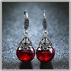 HTB144tqm49YBuNjy0Ffq6xIsVXaU - JIASHUNTAI Retro 100% 925 Sterling Silver Round Garnet Drop Earrings For Women Natural Red Gemstone Ruby Fine Jewelry Best Gifts