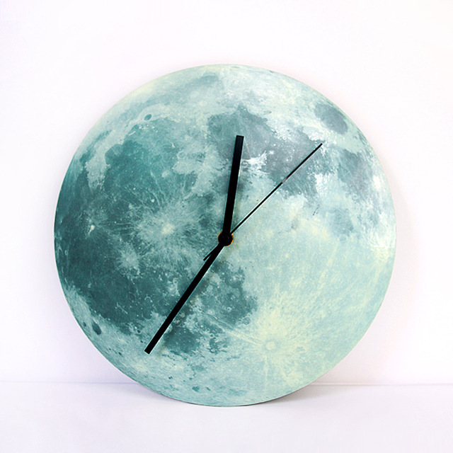 *2017 Creative Luminous Wall Clock Luminous Moon Wall Clock Bell Acrylic Waterproof Wall Clock