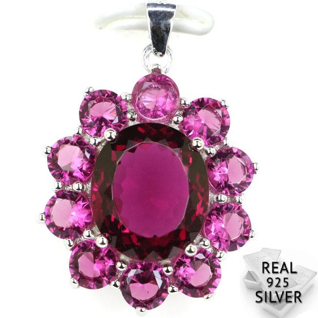 Guaranteed Real 925 Solid Sterling Silver 5 4g Deluxe Top Pink Tourmaline CZ Engagement Pendant 33x23mm in Pendants from Jewelry Accessories