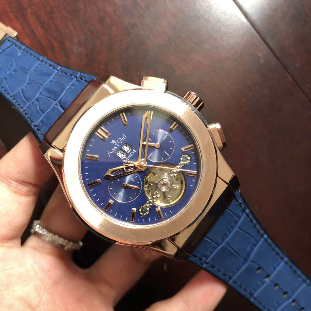 Luxury Brand New Men Blue Leather Rose Gold Automatic Mechanical Sapphire Tourbillions Watches Glass Back See Through Sport AAA+Luxury Brand New Men Blue Leather Rose Gold Automatic Mechanical Sapphire Tourbillions Watches Glass Back See Through Sport AAA+