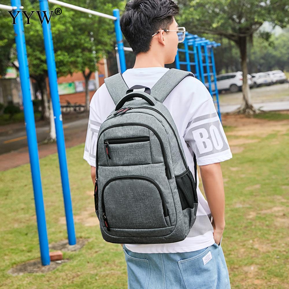 USB téléphone sac à dos hommes sac à dos pour ordinateur portable en toile grand voyage sacs d'école mâle noir gris hommes de haute qualité sacs à livres simples - 2