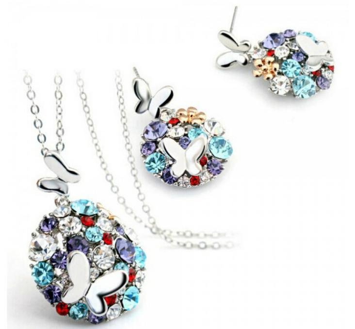 OMH wholesale fashion 18 KT gold white Crystal Colorful double butterfly Women girls gift Necklace + Earrings Jewelry sets TZ117