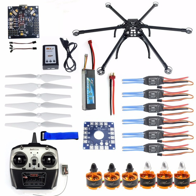 Zes-assige Hexacopter Vliegtuigen Ongemonteerd Full Frame Kit Radiolink 8CH TX & RX ESC Motor KK board Acculader F10513-B