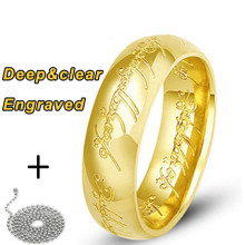 free shipping Engraved word rose gold color rings with bead chains 316L Stainless Steel for men women(China)