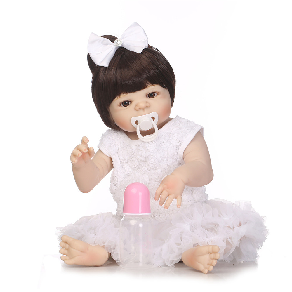 DollMai bebes reborn full silicone dolls reborn 22inch white dress princess girl reborn babies BJD doll can bathe real alive DollMai bebes reborn full silicone dolls reborn 22inch white dress princess girl reborn babies BJD doll can bathe real alive