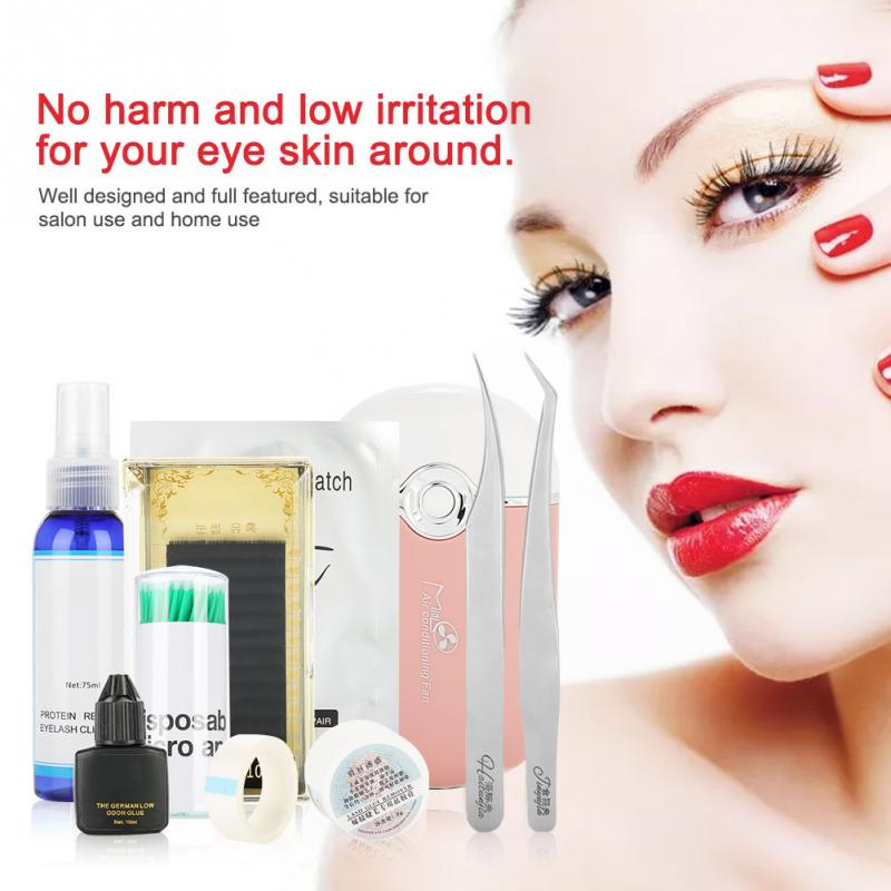 Professional Eyelashes Extension Set for Starter Eyelashes Extension Kit with glue Eye Pad Adhesive Tape Eyelash Clean Water remo hk 0006 sk snare pad starter kit english booklet