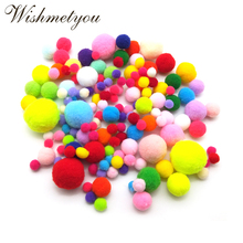 WISHMETYOU 100pcs 8MM-30MM Colorful Fluffy Pom Pom Ball Soft Balls Crafts For Kids Diy Christmas Toys Decor Home Party Supplies