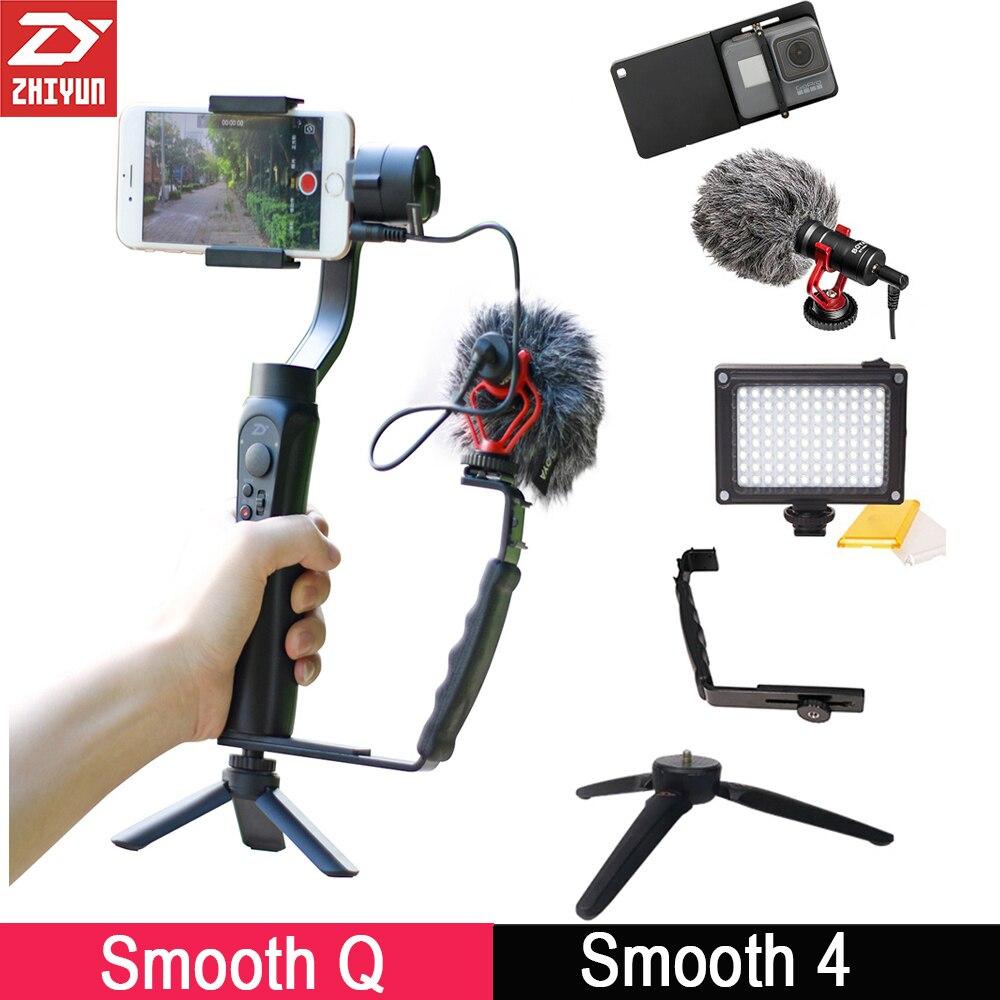 Zhiyun Lisse 4 3-Axis Cardan Stabilisateur w Boya BY-MM1 Microphone Vlogging Suivants Tirer pour iPhone Samsung X Gopro 6 SJCAM
