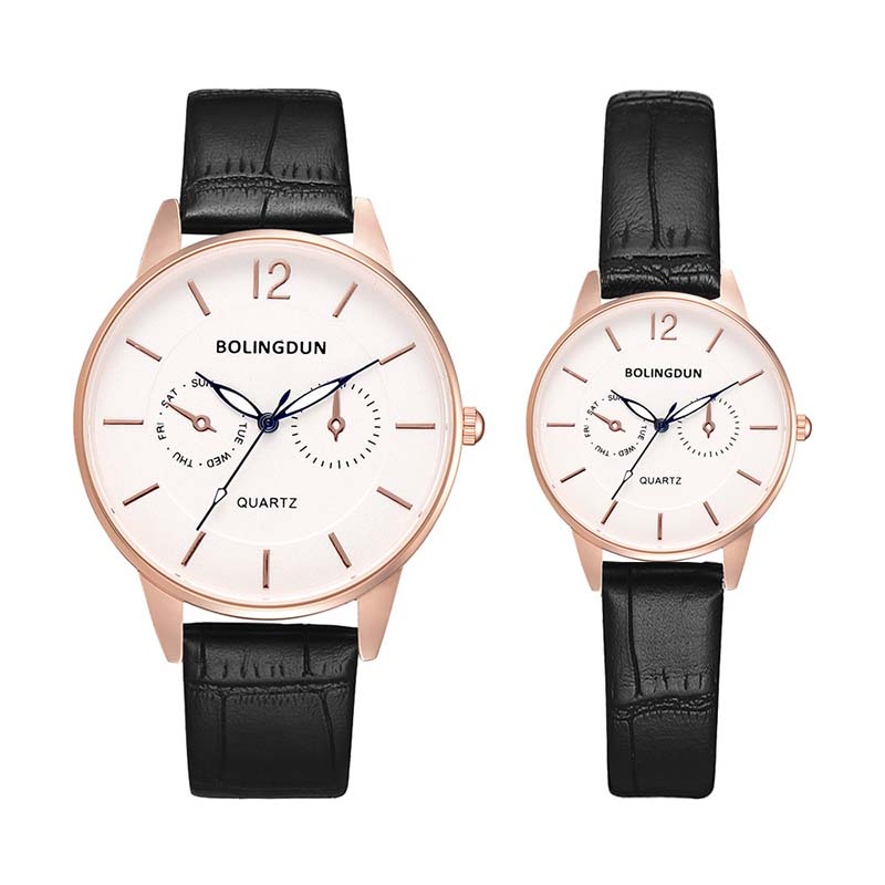 Fashion Simple Classics Black Leather Lover's Watches Creative Couple Gift For Lovers Geometric Quartz Luxury Band Wristwatch