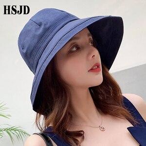 Image 2 - 2019 yeni fransız bez geniş ağız güneş balıkçı şapka yaz kadın şapka açık seyahat katlanabilir katı kova şapka Anti UV plaj şapkası