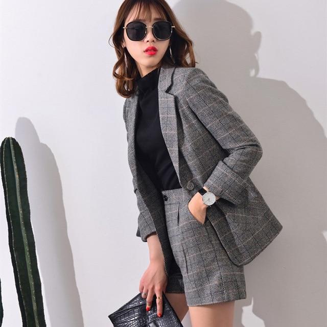 Short Pant Suits Women Casual Office Business Suits Uniform Styles Elegant Plaid Pant Suits Formal Work Wear Sets J17CT0046