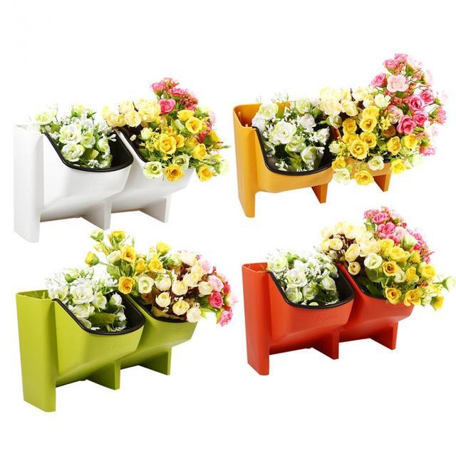 Resin Flower Pot Bonsai Pot 2 Pocket Stackable Home Garden Wall Hanging  Vertical Flower Pot