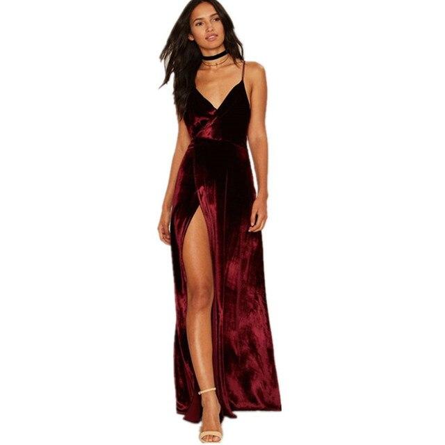 24ba03385d4b7 2017 Sexy V-ausschnitt Seitenschlitz Frauen Kleider Europäische Heißer  Verkauf Velour Lange Vestidos Frau Spaghettibügel