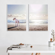 Canvas Seascape Print Picture Sea Paintings Modern Poster Beach Wall Art Nordic Ocean Dog Unframed