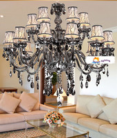 Italy smoky grey crystal chandelier with lampshade 15 arm lustres de cristal chandelier living room crystal lighting/lamp/light