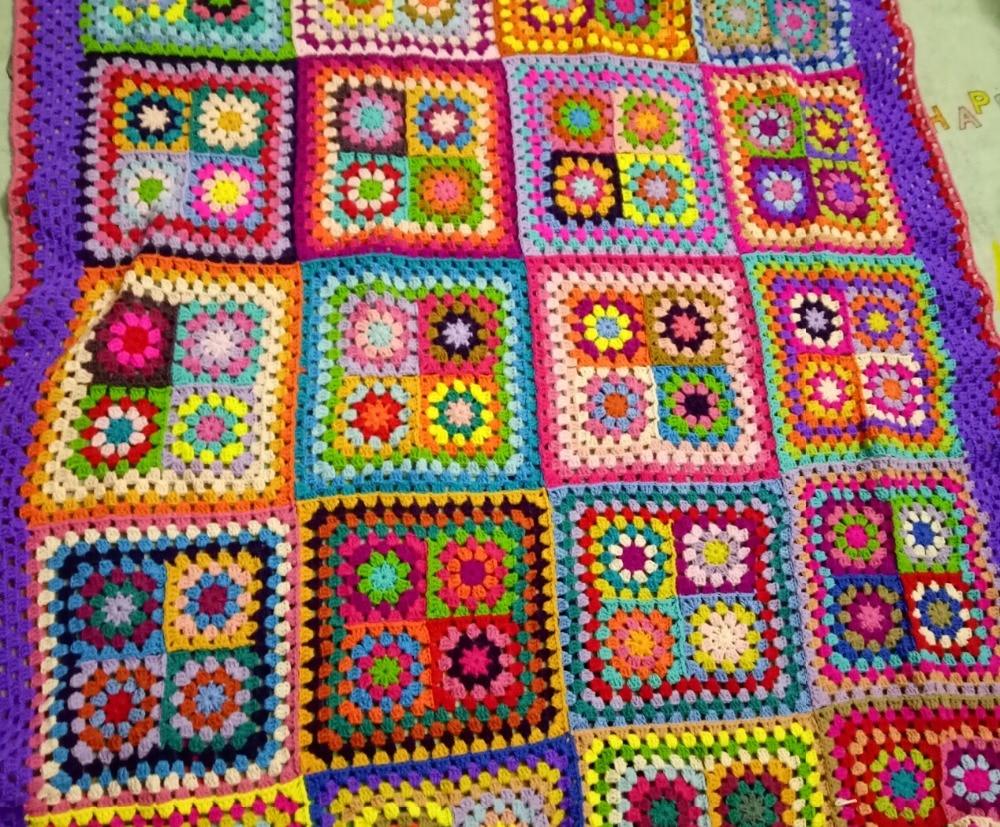 DIY Colourful Daisy Handmade Fashion Carpet Crochet Blanket Yoga ...