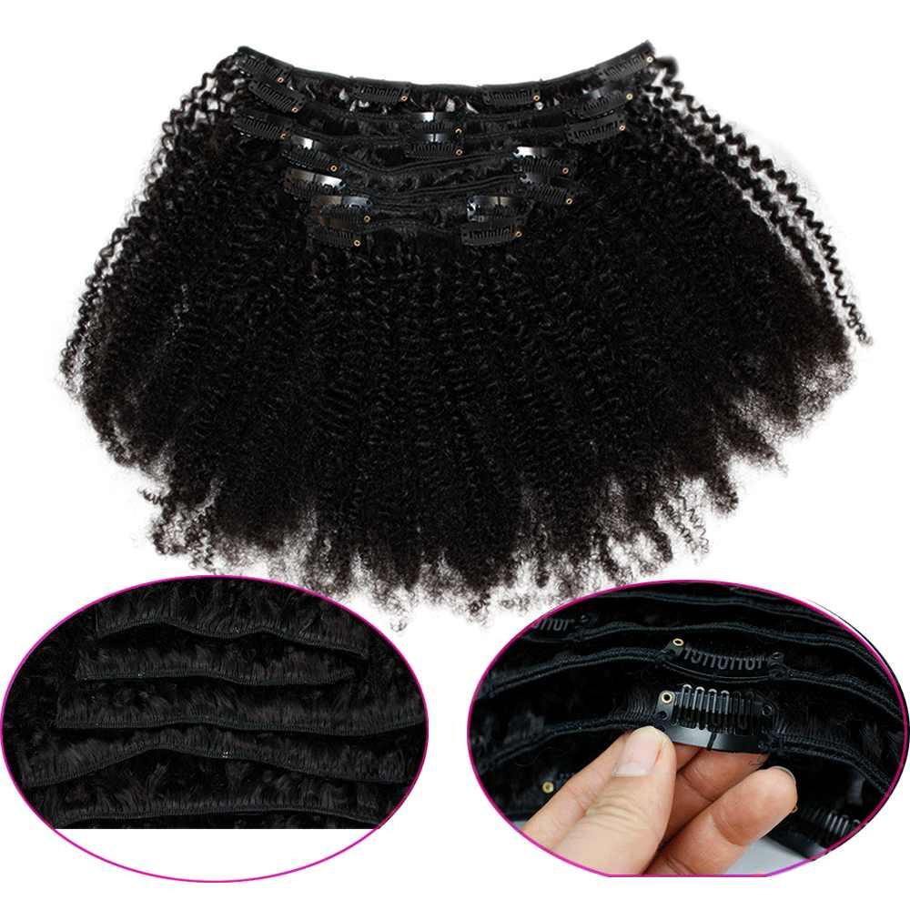 Eseewigs Clip rizado Afro en extensiones de cabello brasileño Remy cabello humano 7 unids/set cabeza completa 120g negro Natural la extensión del pelo