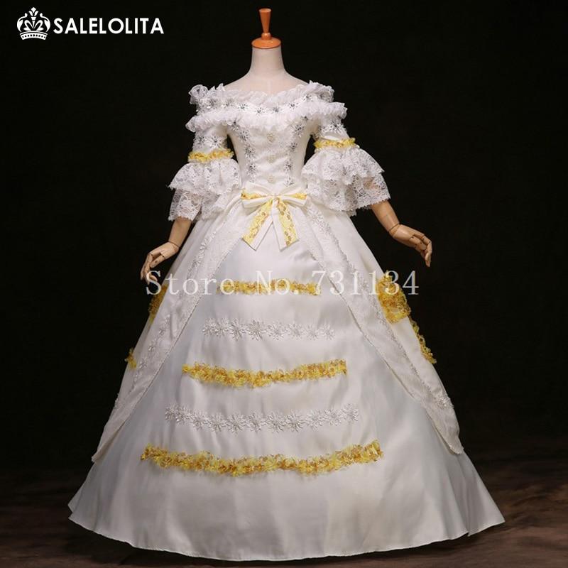 Blanc Médiéval Renaissance Baroque Robe Costume Robe de mariée robe de costume