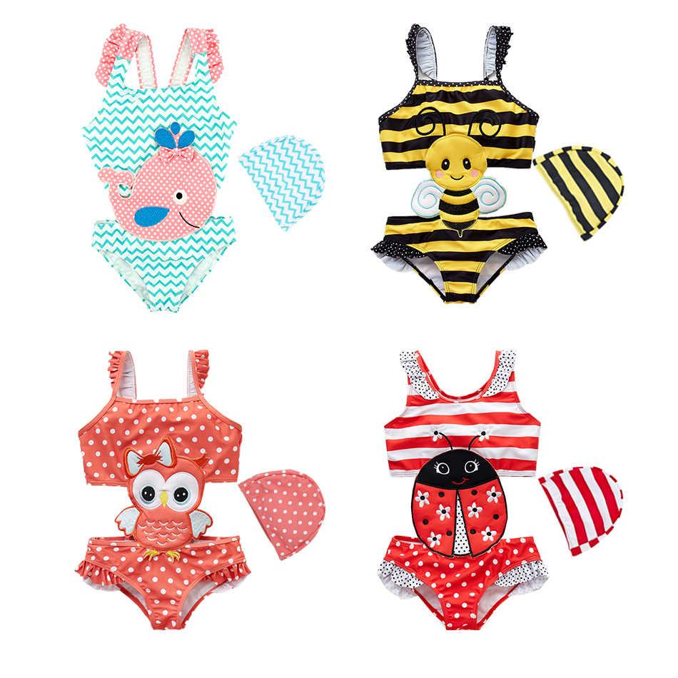 Hongshilian Little Girls Cartoon Beach Sport Swimwear One Piece Baby Swimsuit