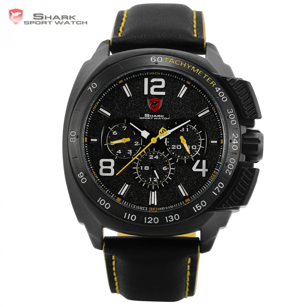 цена на Tiger Shark Sport Watch Brand New Date 24Hrs Black Yellow Bezel Leather Strap Male Clock Racing Men Male Quartz Watch / SH416