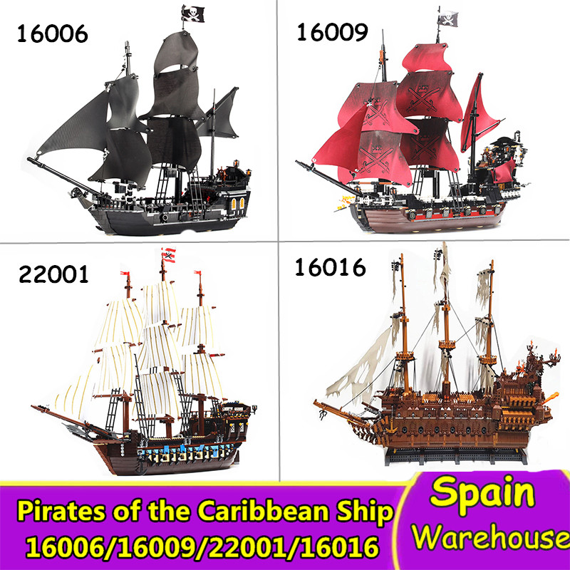 16006 16009 Caribbean Pirates Ship Building Blocks Netherlands Flying Ship Dutchman Movie Game Set 16016 22001