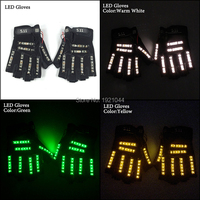 Free Shipping 6 Colors 1pair(=2pcs) Led Gloves Stage Show Props LED Light up Gloves Glow Party Supplies