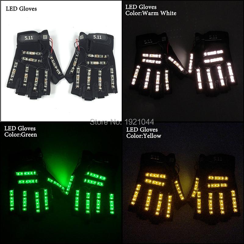 Livraison Gratuite 6 Couleurs 1 paire (= 2 pcs) gants Led Stage Show Props LED Light up Gants Glow Parti Fournitures