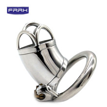 FRRK dildo metal Chastity Device Male Stainless Steel  Chastity Belt Openwork Cock Cage  Penis Ring sex toys for men adult game stainless steel small male chastity belt adult cock cage with arc shaped cock ring sex toys for men chastity device