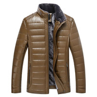 Winter High Grade Men Leather Jacket Business Casual Men S Cotton Jacket Plus Cashmere Warm Men