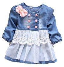 Kidscool Girls Long Sleeve Cotton Soft Ddenim Lace Decoration Dresses