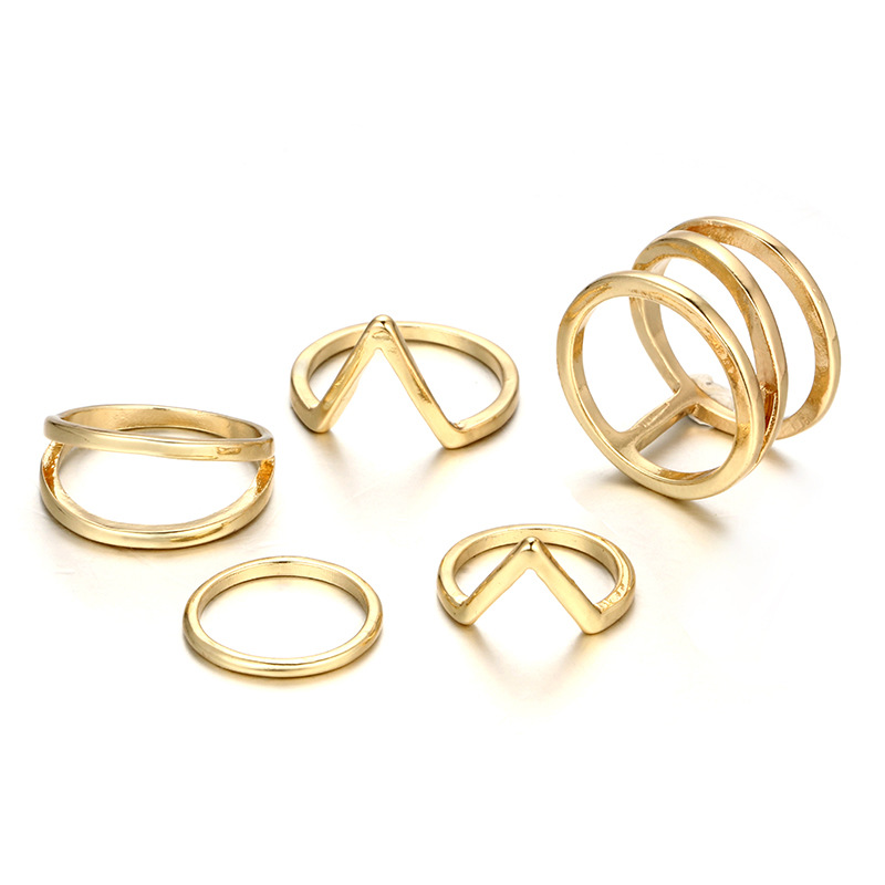 5pcs=1set 2018 Hot Punk Geometric Gold Color Rings Set for Women Girl gift Metal Finger Midi Anillo Statement Jewelry