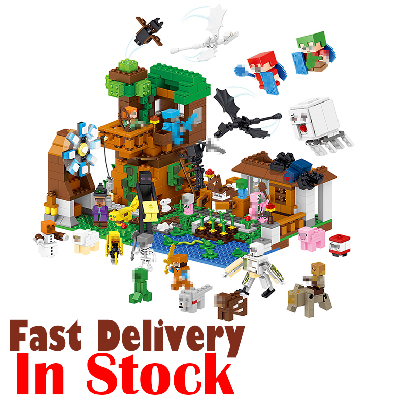 In Stock 1007pcs LELE Minecraft My World Building Blocks Bricks Toys Educational Zombie Action Figures For Children legoINGly lele my world power morse train building blocks kits classic educational children toys compatible legoinglys minecrafter 541 pcs