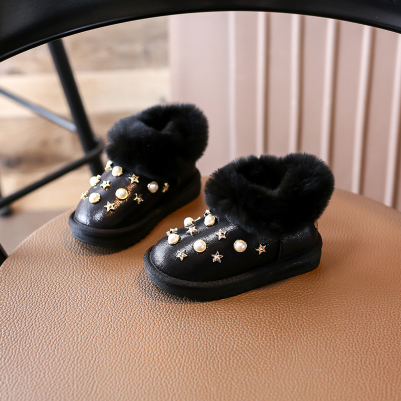 Nauhutu Fur Snow Boots For Girls Gold Rivet Stud Pearl Glitter Children Australia Shoes for Winter
