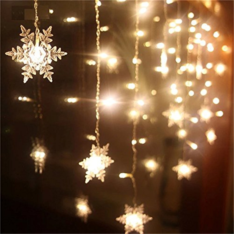 3.5M Or 5M Snowflake Led Curtain Light AC220V Romantic Decoration Lamp Fairy Light 8 Modes Party Window Patio Wedding