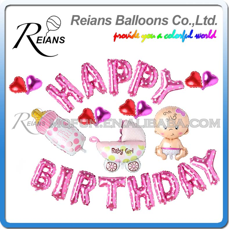 50 Sets Reians Cartoon Pink New Born Baby carriage kids HAPPY BIRTHDAY Party Decoration Letter Number Aluminum Foil Balloons Set