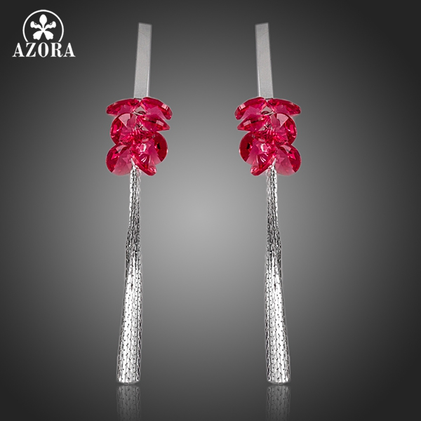 все цены на AZORA Rose Red Stellux Austrian Crystal Shining Tassel Drop Earrings TE0096