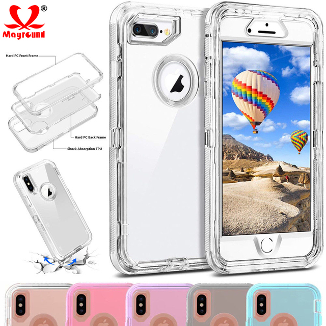 los angeles 8aff3 84bad US $4.64 7% OFF|Mayround Heavy Duty Armor Plain 360 Clear Crystal Case  Cover For iPhone Xs Max/XR/X Protector PC+TPU Clear For iPhone 6 7 8  Plus-in ...