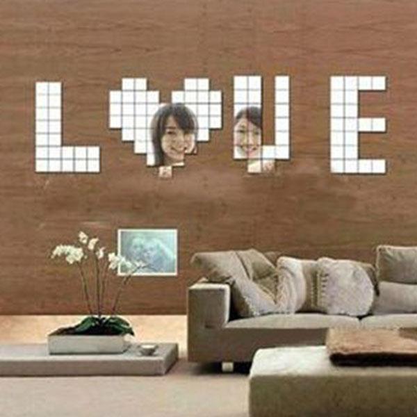 100PCS/Lot Mirror Wall Stickers Acrylic 3D Wall Sticker Decals Vinilos Paredes TV Wall Home Decor DIY Espelhos De Parede